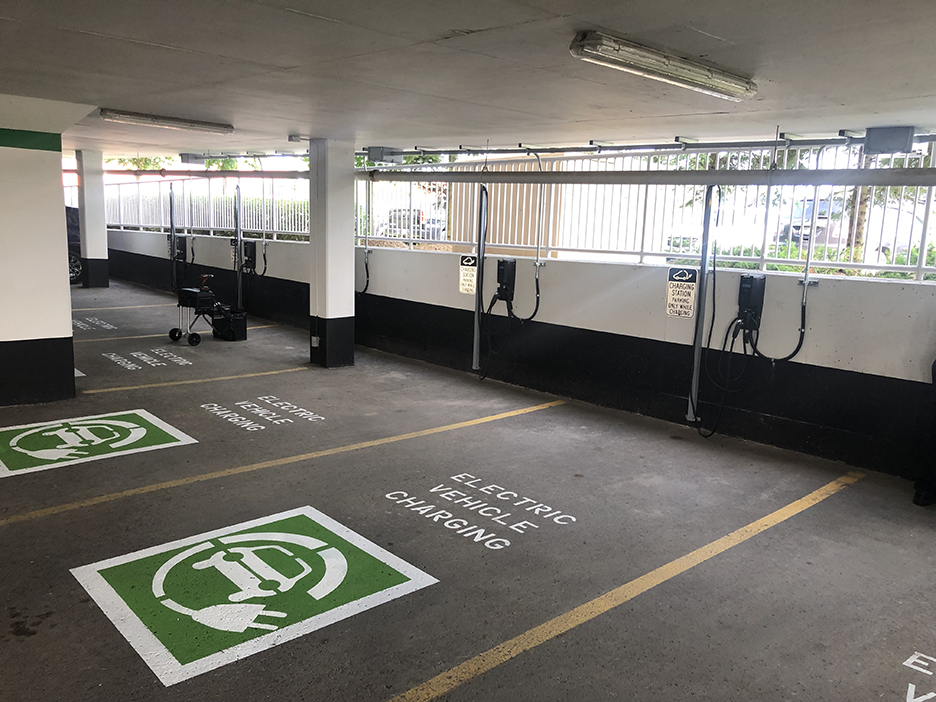 A picture of electric vehicle charging stations