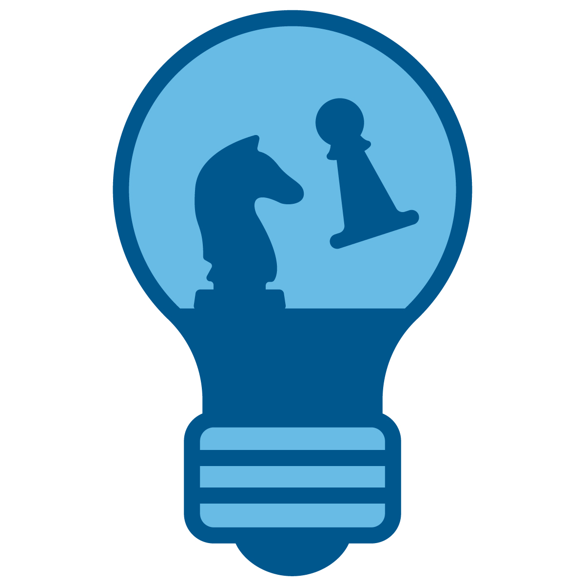 A lightbulb icon showing ideas being developed in stage 1