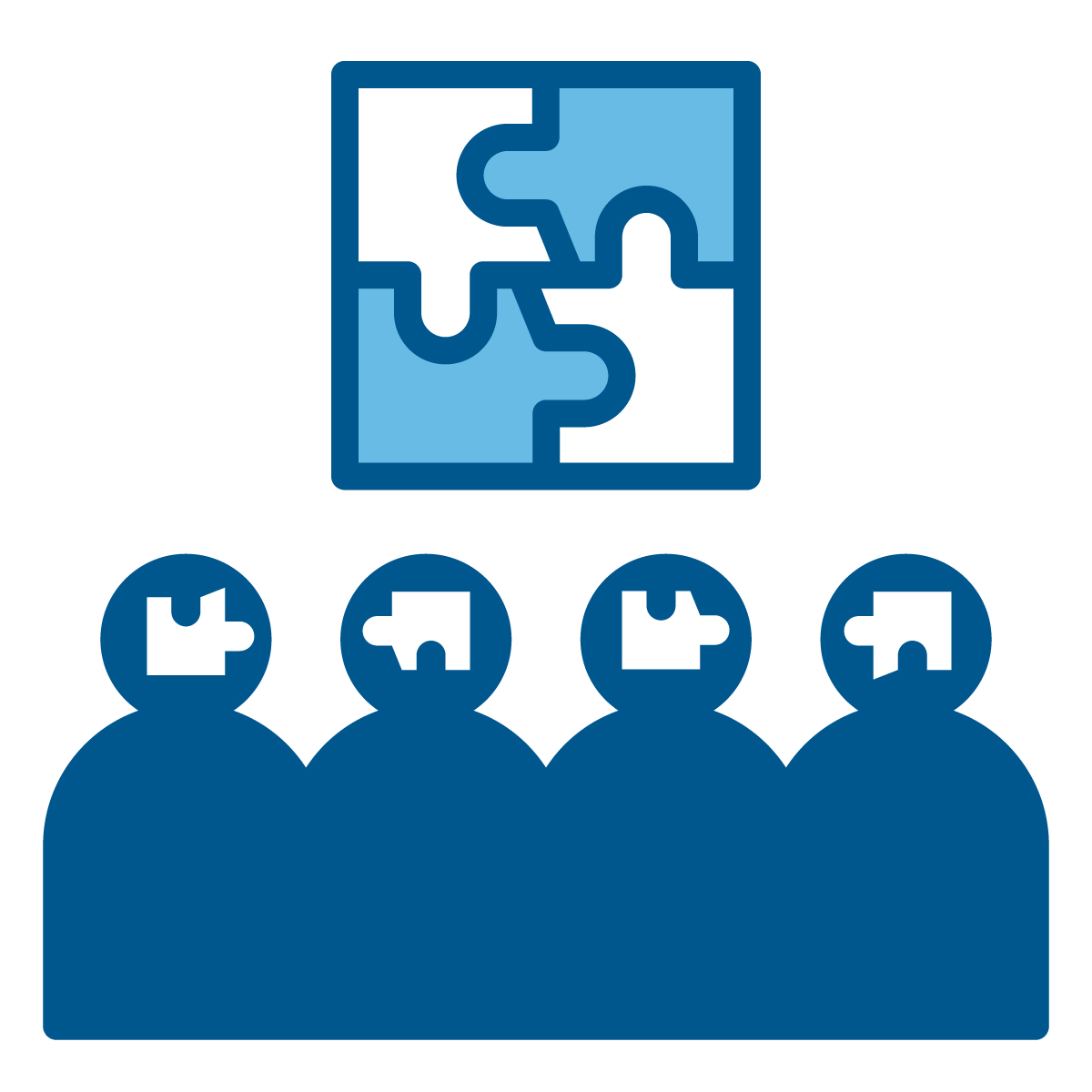 A puzzle icon showing people working together to solive problems in stage 3