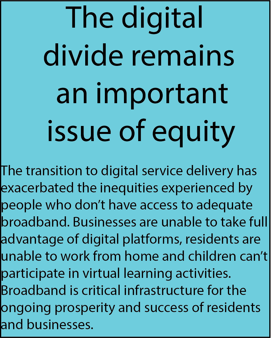 The digital divide remains an important issue of equity. The transition to digital service delivery has exacerbated the inequities experienced by people who don't have access to adequate broadband. Businesses are unable to take full advantage of digital platforms, residents are unable to work from home and children can't participate in virtual learning activities. Broadband is critical infrastructure for the ongoing prosperity and success of residents and businesses.