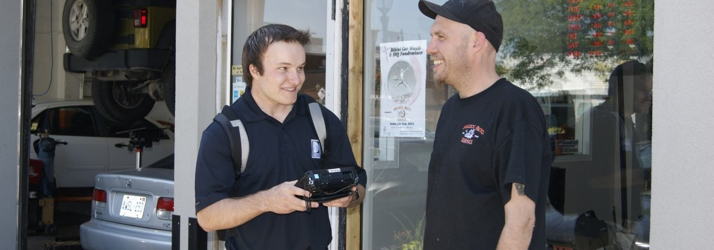 Business owner being interviewed by Business Count surveyor