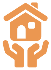Orange icon of a house