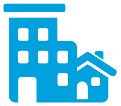 blue icon of house