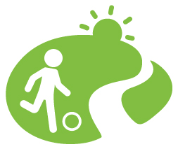 green icon with man playing soccer