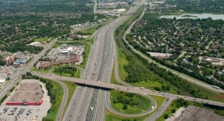 Aerial shot over highway