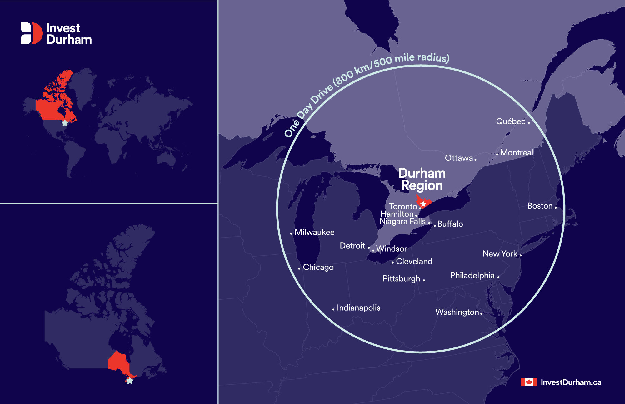 Map of Durham Region and surrounding major cities