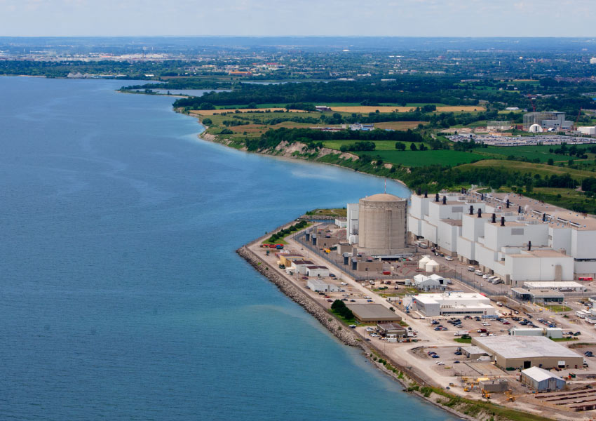 Aerial shot of the Darlington Nuclear Plant and Lake Ontario.