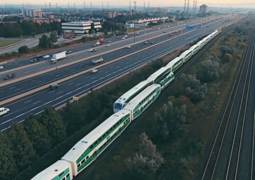 Aerial shot of Go Trains on tracks.