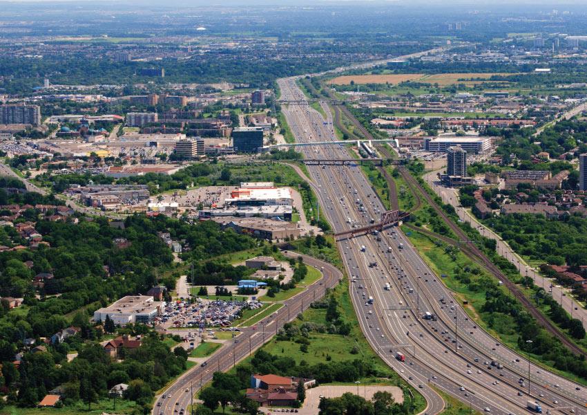 Aerial shot of Pickering over highway.