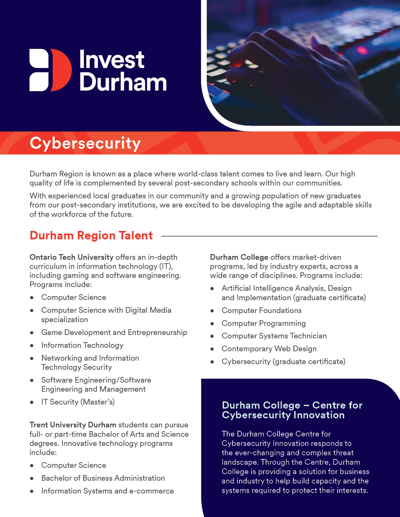 Invest Durham Cybersecurity PDF thumbnail.