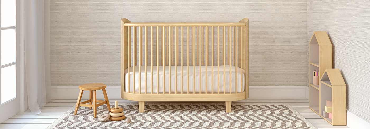 A crib in baby's bedroom.
