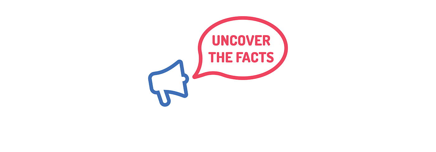 "Words ""uncover the facts"" in a thought bubble."