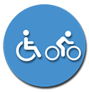 Wheelchair and bicycle icon.
