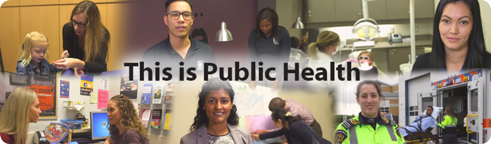 This is Public Health - Photo collage of Health Department staff interacting with clients.