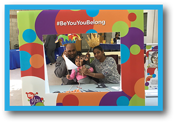 Family participating in Be You You Belong event.