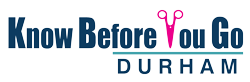 Know Before You Go Durham logo.