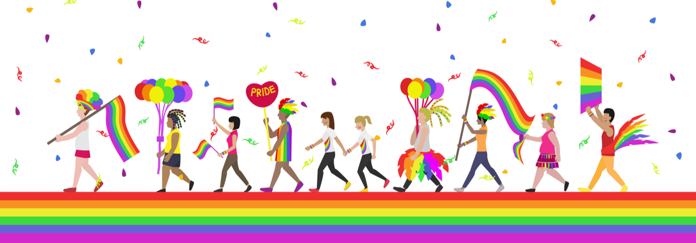 Cartoon drawing of people marching in parade in pride colours.