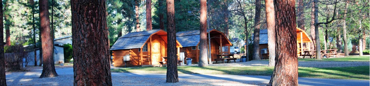 Cabins in the woods.