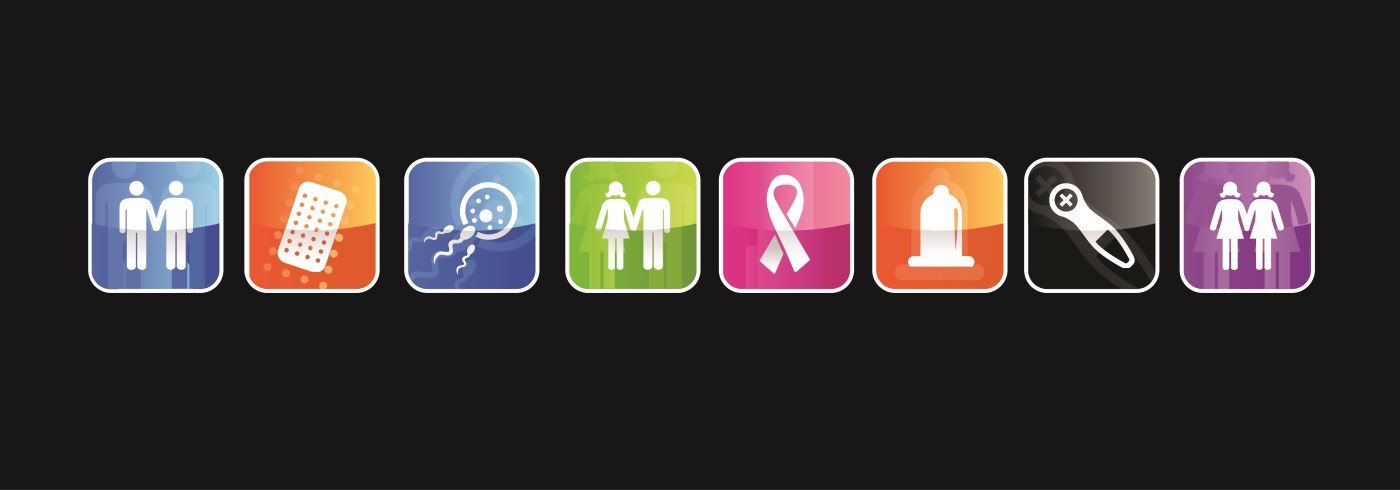 Icons representing sexual health clinic services