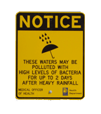 Health Department issued heavy rainfall sign at public beach.