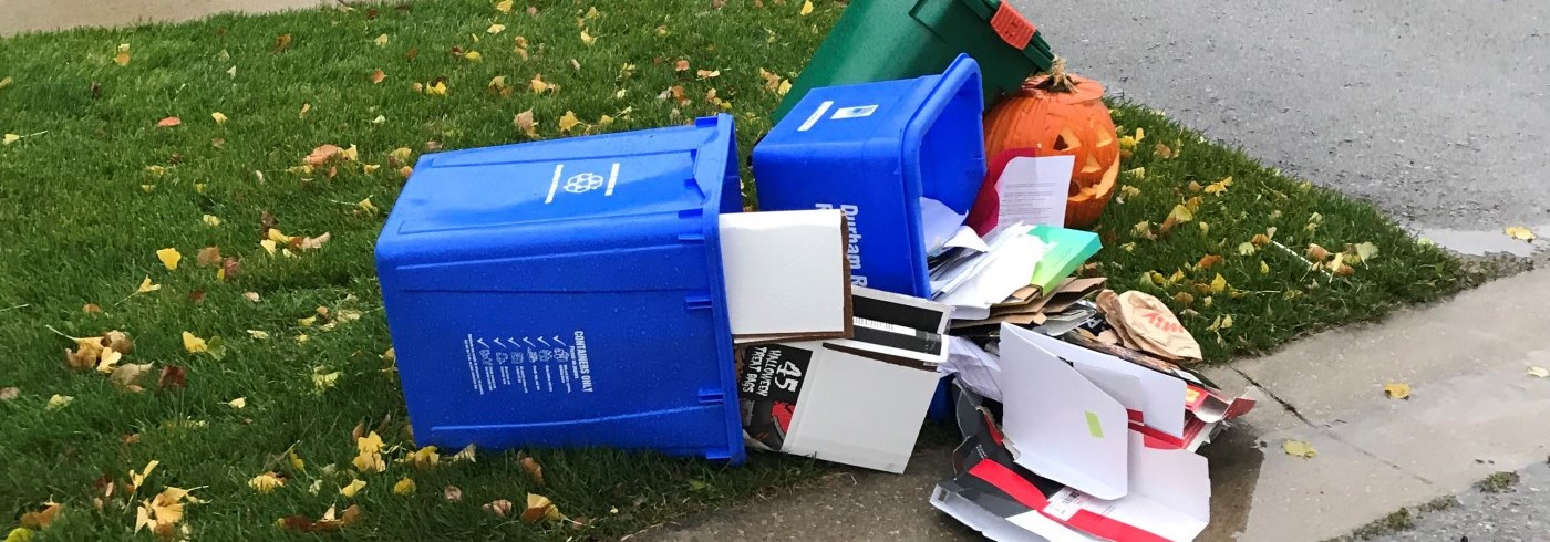 Blue box recycling materials tipped over on a windy day