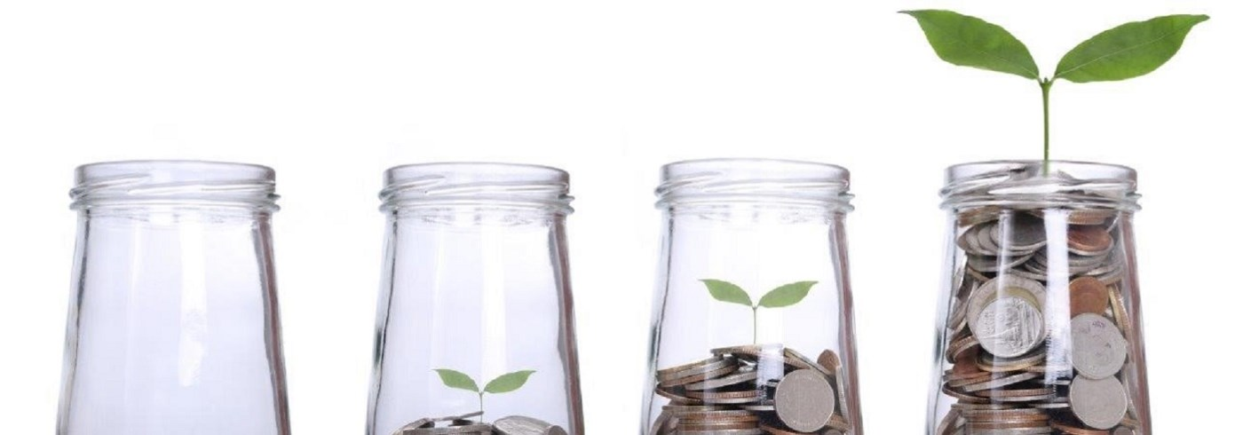 Money growing in jars