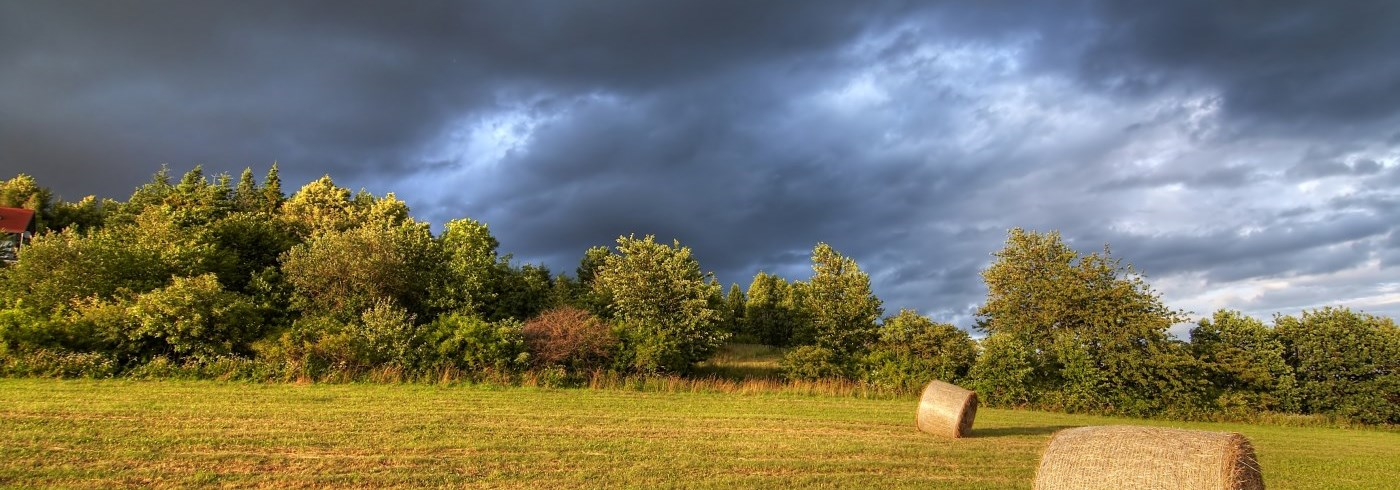 Stormy sky above hay field