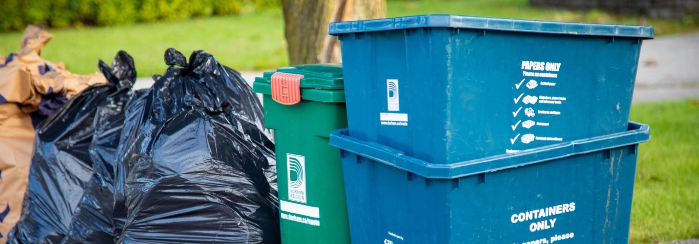 Durham Region curbside collection bins and garbage bags