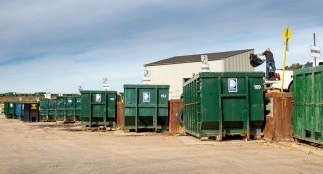 Dumpsters at a Regional waste management facility