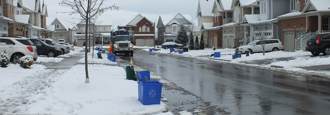 green bins and blue boxes placed at street curb for collection in winter