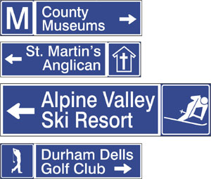 Tourism directional road signs