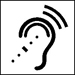 Symbol of an ear with dots, assistive listening