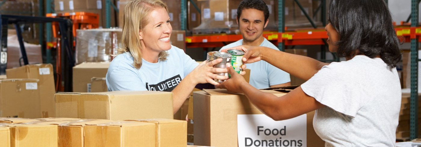 Volunteers working at a food bank