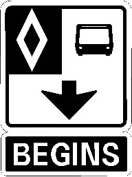 Sign indicating bus-only lane