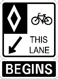 Sign indicating bicycle-only lane