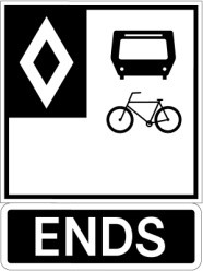 Sign indicating reserved lanes are ending