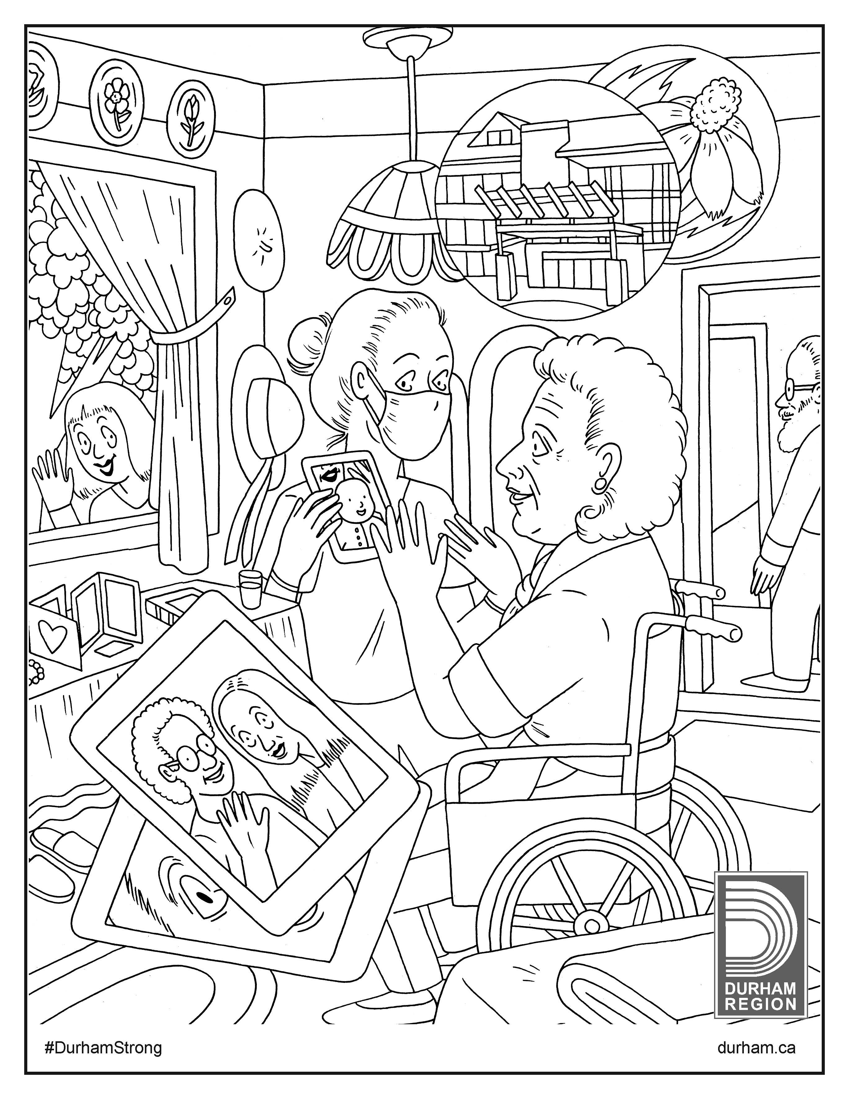 Illustration of a caregiver and resident at a long-term care home