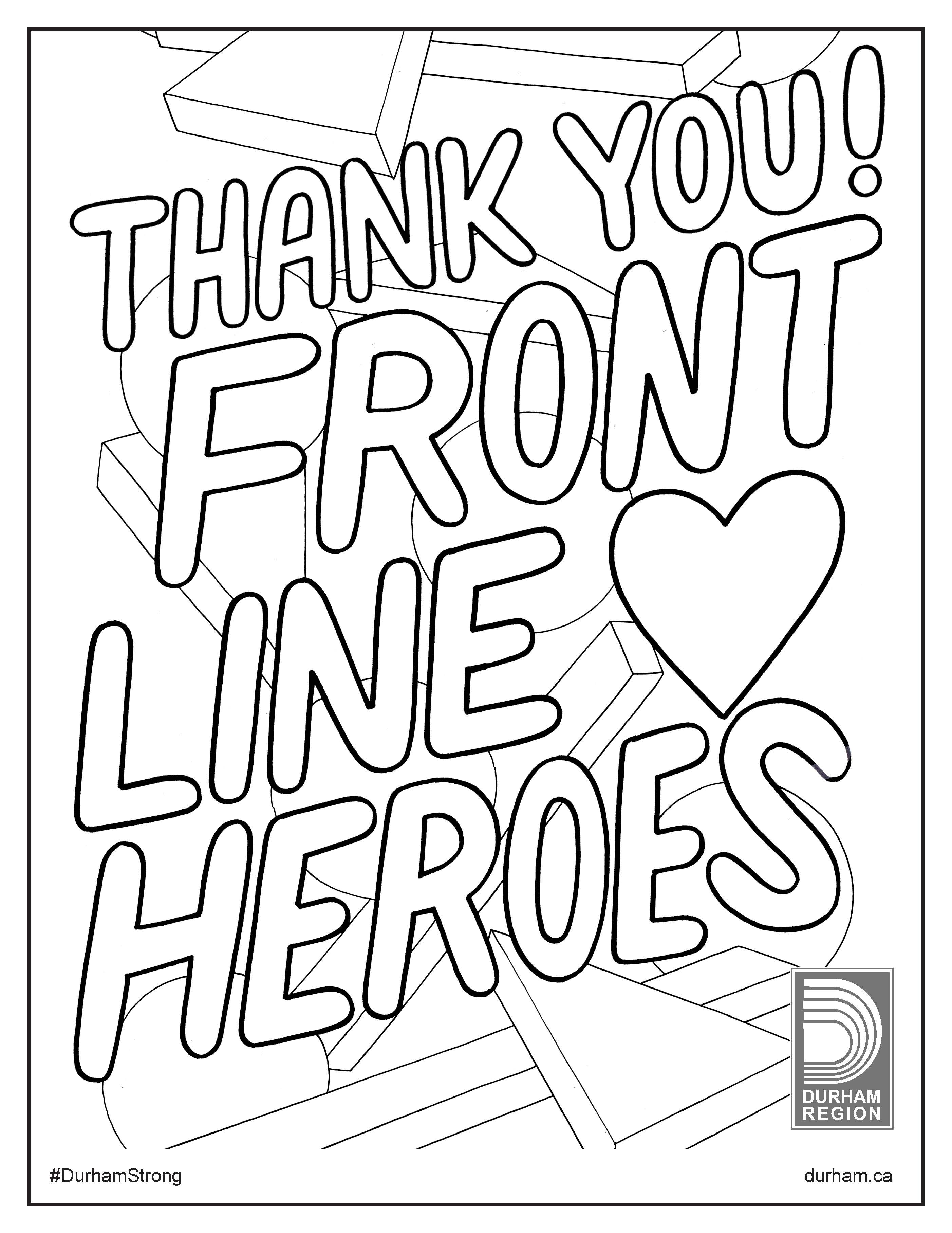 Illustration of thank you sign for front-line heroes