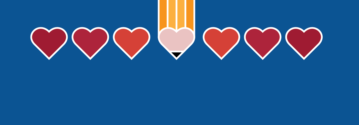 Hearts and a pencil