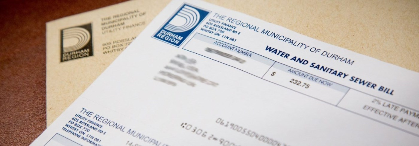 Water bill with envelope